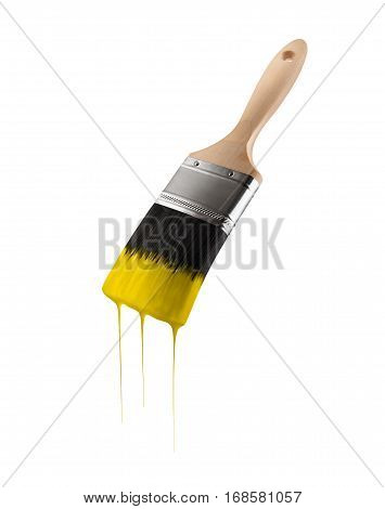 Paintbrush loaded with yellow color dripping off the bristles. Isolated on white background.