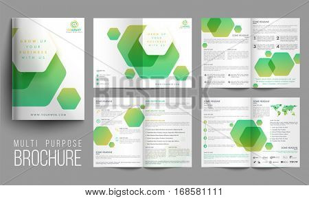 Modern Multi-Purpose, Eight Pages Brochure Set with abstract design.