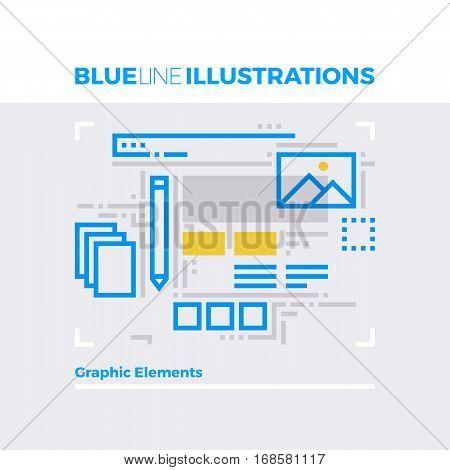 Graphic Elements Blue Line Illustration.