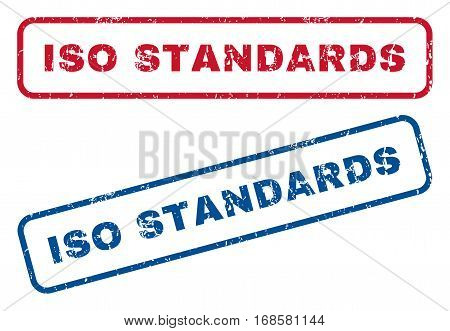 ISO Standards text rubber seal stamp watermarks. Vector style is blue and red ink tag inside rounded rectangular banner. Grunge design and dust texture. Blue and red emblems.