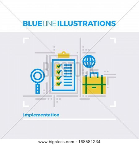 Implementation Blue Line Illustration.