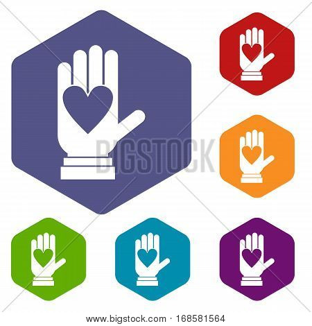 Hand with heart icons set rhombus in different colors isolated on white background