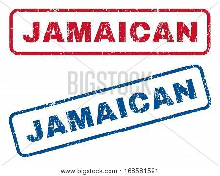 Jamaican text rubber seal stamp watermarks. Vector style is blue and red ink caption inside rounded rectangular banner. Grunge design and scratched texture. Blue and red emblems.