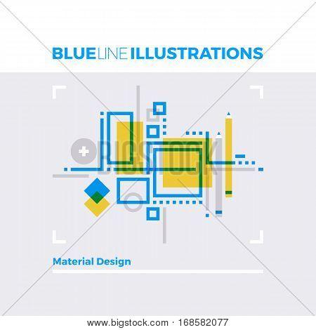 Material Design Blue Line Illustration.
