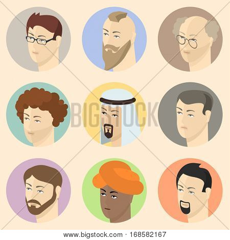 Man face avatars for social media or web site. Flat design vector icon set.