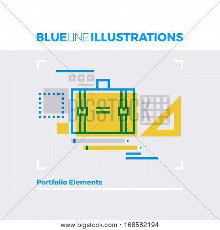 Portfolio Blue Line Illustration.