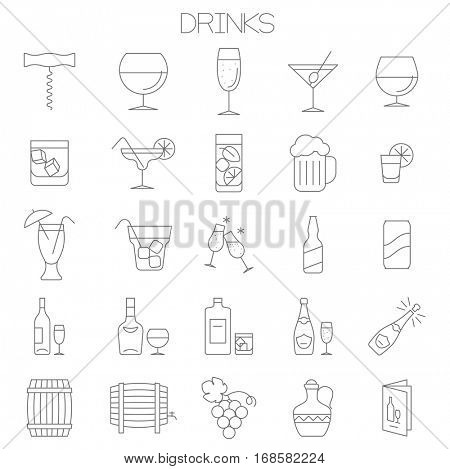 Thin line flat design wine, drinks and cocktail menu vector icon set.