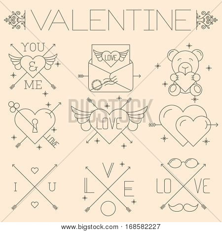 Thin line flat design hipster valentines vector icon set.