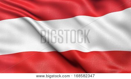 Flag of Austria  waving in the wind. 3D illustration with high quality fabric texture.
