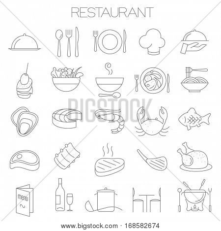Thin line flat design restaurant menu vector icon set for menu, interface, web site and application design.