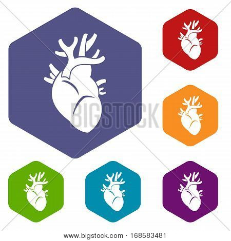 Heart icons set rhombus in different colors isolated on white background