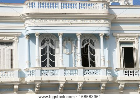 Cienfuegos Cuba - 18 january 2016: Cuban colonial architecture - Old Town of Cienfuegos (UNESCO World Heritage Site).