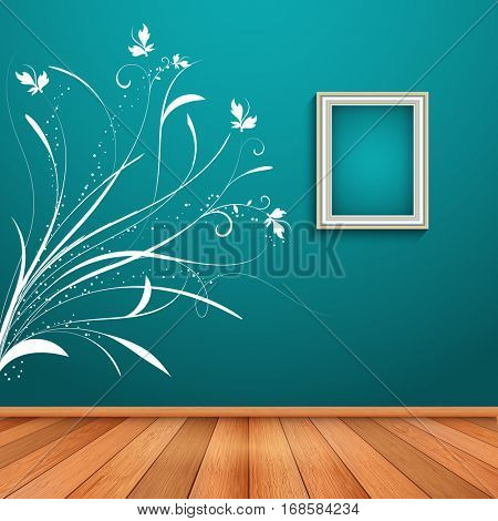 Room interior with decorative floral wall decal