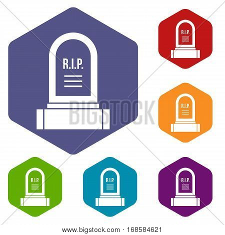 Headstone icons set rhombus in different colors isolated on white background