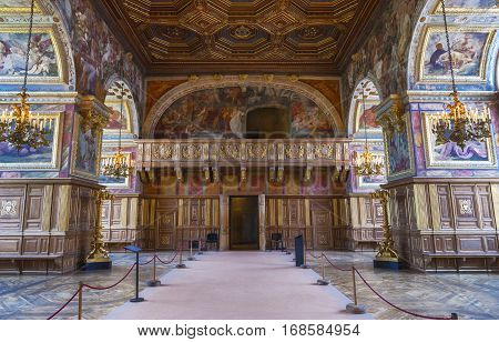 Fontainebleau, France - June 2016: in the ballroom of the royal palace