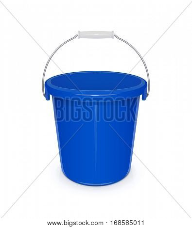 Blue plastic empty bucket with handle. Tool for cleaning and housekeeping. Instrument working. Vector illustration