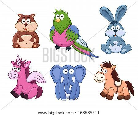 Cute cartoon animals isolated on white background. Stuffed toys set. Vector illustration of adorable plush baby animals. Crocodile kangaroo octopus sheep yak panda.