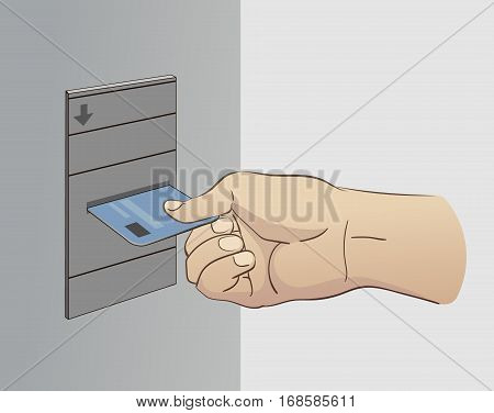 Vector Hand Inserting Card Into Cash Dispense