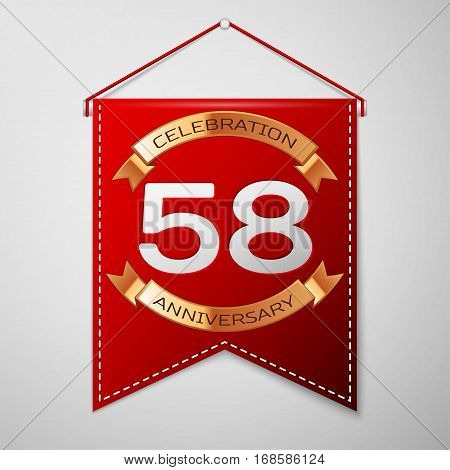 Red pennant with inscription Fifty eight Years Anniversary Celebration Design over a grey background. Golden ribbon. Colorful template elements for your birthday party. Vector illustration
