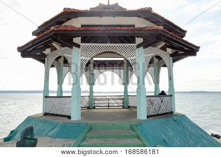 The pavilion at the park of La Punta in Cienfuegos with a view on the lagoon Cuba
