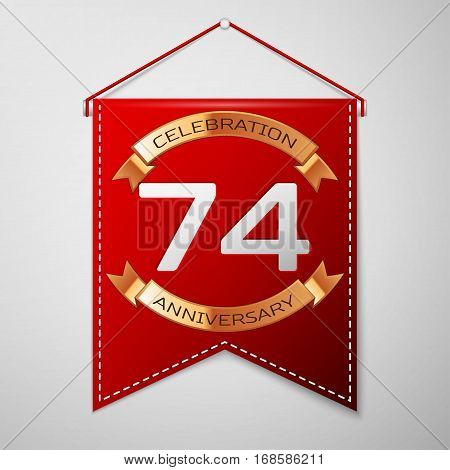 Red pennant with inscription Seventy four Years Anniversary Celebration Design over a grey background. Golden ribbon. Colorful template elements for your birthday party. Vector illustration