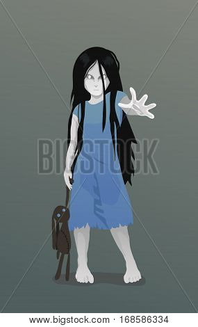 Vector Illustration of Ghost girl with toy