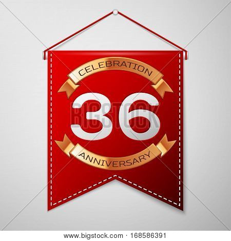 Red pennant with inscription Thirty six Years Anniversary Celebration Design over a grey background. Golden ribbon. Colorful template elements for your birthday party. Vector illustration