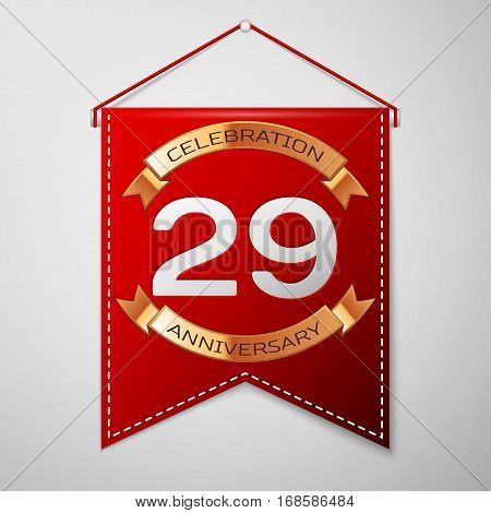 Red pennant with inscription Twenty nine Years Anniversary Celebration Design over a grey background. Golden ribbon. Colorful template elements for your birthday party. Vector illustration