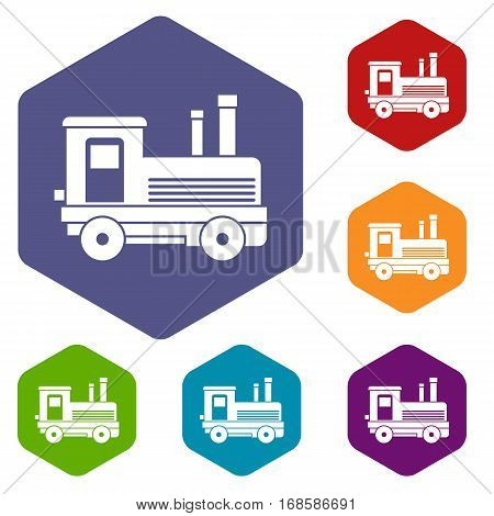 Locomotive icons set rhombus in different colors isolated on white background