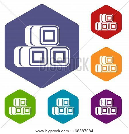 Hay bundles icons set rhombus in different colors isolated on white background