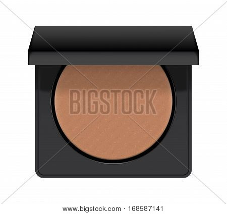 Realistic of case with bronzer. Bronzing shiny powder for makeup in round black plastic case. Cosmetic for glamour bronze make-up and beauty. 3d vector illustration isolated on white background.
