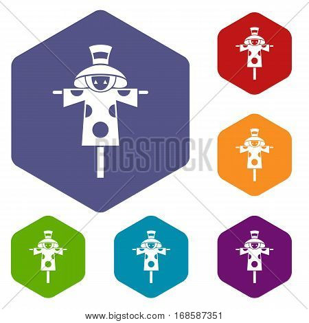 Scarecrow icons set rhombus in different colors isolated on white background