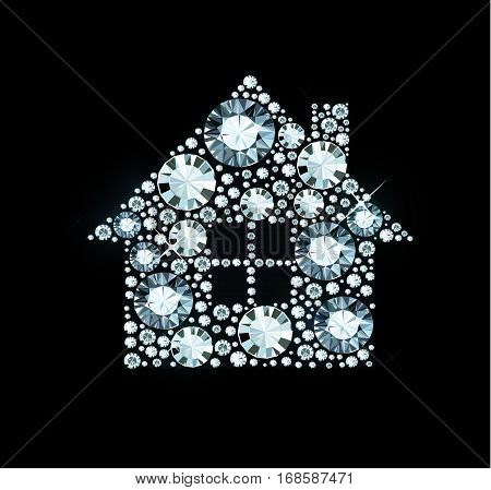 House made of shiny diamonds on black