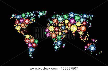 World map made of colored gems on black