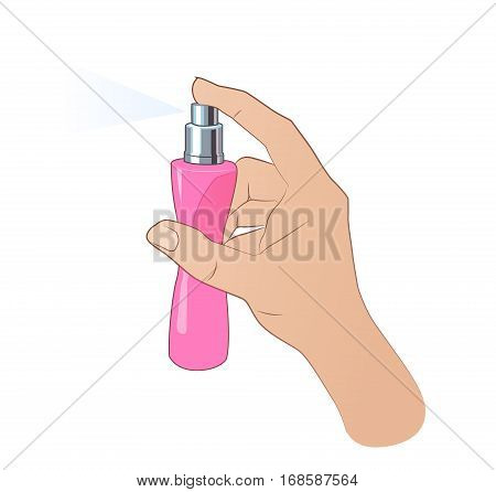 Hand spraying colorful cloud from beautiful perfume bottle