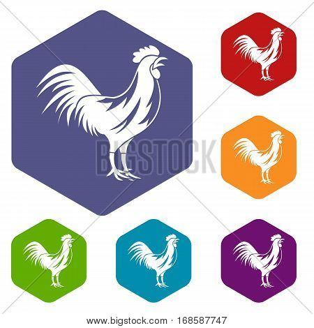 Gallic rooster icons set rhombus in different colors isolated on white background