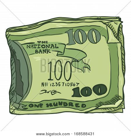 Vector Cartoon Bundle of Money on White Background