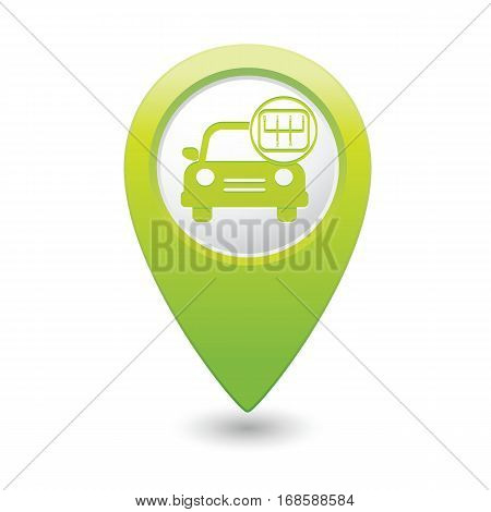 Car service. Car with stick shift on map pointer