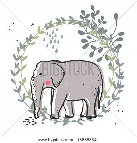 elephant in green wreath