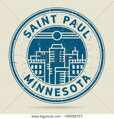 Grunge rubber stamp or label with text Saint Paul Minnesota written inside vector illustration