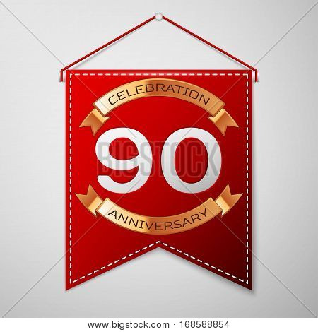 Red pennant with inscription Ninety Years Anniversary Celebration Design over a grey background. Golden ribbon. Colorful template elements for your birthday party. Vector illustration