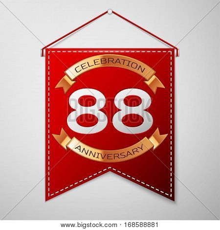 Red pennant with inscription Eighty eight Years Anniversary Celebration Design over a grey background. Golden ribbon. Colorful template elements for your birthday party. Vector illustration
