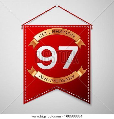 Red pennant with inscription Ninety seven Years Anniversary Celebration Design over a grey background. Golden ribbon. Colorful template elements for your birthday party. Vector illustration