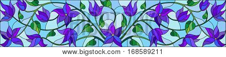 Illustration in stained glass style with abstract blue flowers on a blue backgroundhorizontal orientation