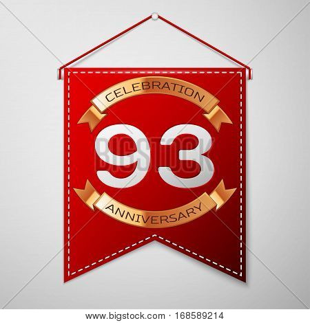 Red pennant with inscription Ninety three Years Anniversary Celebration Design over a grey background. Golden ribbon. Colorful template elements for your birthday party. Vector illustration