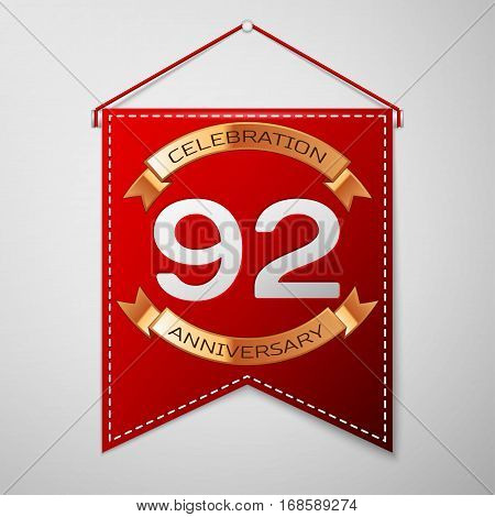 Red pennant with inscription Ninety two Years Anniversary Celebration Design over a grey background. Golden ribbon. Colorful template elements for your birthday party. Vector illustration