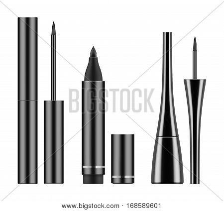 Collection of types 3d realistic eyeliner: black liquid liners in bottle with brush and pencil. Containers of cosmetic product for makeup and beauty eyes. Vector illustration on white background.