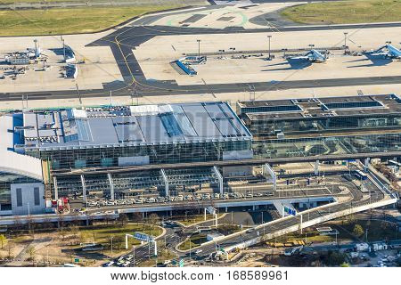 Aerial View To The Modern Terminal 2 In Frankfurt, Germany