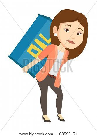 Caucasian worker of oil industry carrying barrel on back. Worker walking with oil barrel on back. Female worker holding heavy oil barrel. Vector flat design illustration isolated on white background.