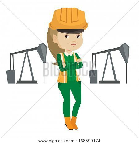 Caucasian oil worker in uniform and helmet. Oil worker standing with crossed arms. Oil worker standing on the background of pump jack. Vector flat design illustration isolated on white background.